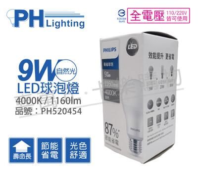 【PHILIPS飛利浦】LED 9W E27 4000K 全電壓 自然光 易省 球泡燈 (5.6折)