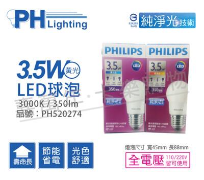 philips飛利浦 led 3.5w e27 3000k 全電壓 黃光 g45 球泡燈 (7.8折)