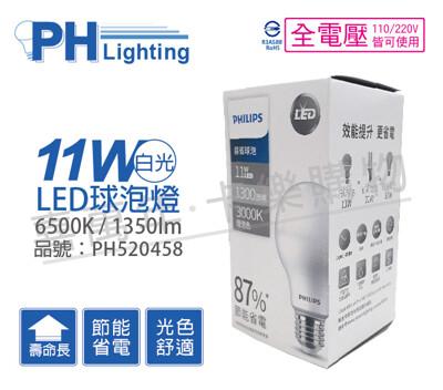 philips飛利浦led 11w e27 6500k 全電壓 白光 易省 球泡燈 (4.8折)