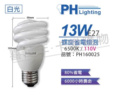 【PHILIPS飛利浦】13W 110V 865 白光 E27 螺旋 麗晶 省電燈泡 (6折)