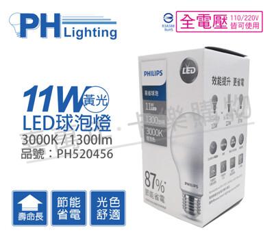 philips飛利浦led 11w e27 3000k 全電壓 黃光 易省 球泡燈 (4.8折)