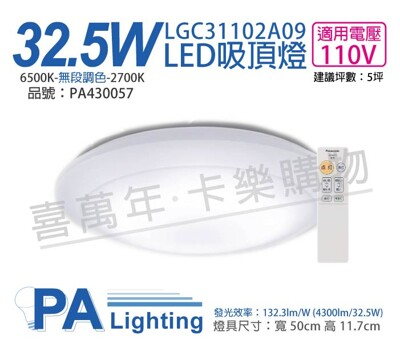 【Panasonic國際牌】LGC31102A09 LED 32.5W 110V 全白燈罩 吸頂燈 (7.9折)