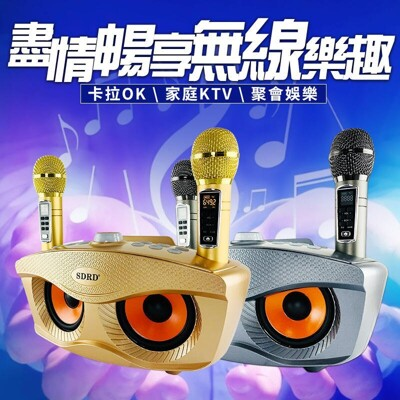 升級版 SD306 PLUS 貓頭鷹麥克風 家庭ktv 無線雙人麥克風藍牙音箱 (2折)
