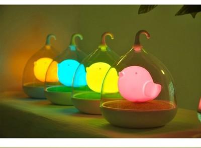 交換禮物最愛 小鳥造型彩色LED小夜燈 造型鳥籠燈  檯燈  手提燈省電 觸控燈 (2.1折)