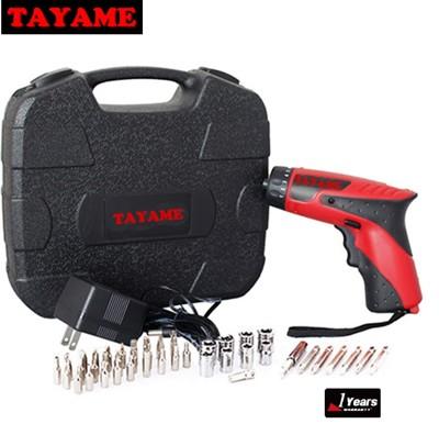 TAYAME 4.8V 充電式 電鑽 起子機【附有三顆LED燈‧加贈45PCS組套工具箱】 (5.4折)