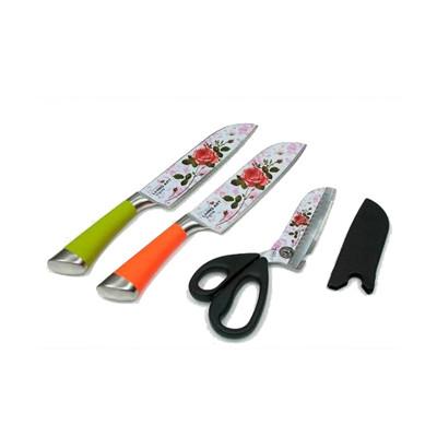 鑽石級玫瑰廚刀3件組-媽媽的最愛 玫瑰鋼刀 (5折)