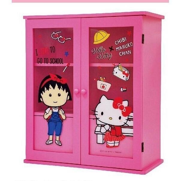 正版授權免組裝 木製 kitty & 小丸子透明雙門雙內抽屜櫃 收納櫃