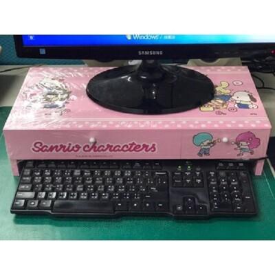 【正版授權】木製 Hello Kitty  電腦螢幕架 鍵盤架桌上收納櫃 SY-1019 (6.3折)