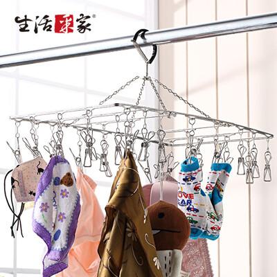 【生活采家】台灣製304不鏽鋼室外三折式32夾曬衣架#27128 (8.3折)