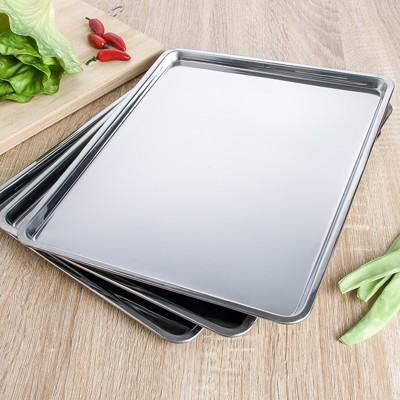 不銹鋼托盤 加厚不銹鋼盤子 家用長方形托盤 燒烤烘焙盤食堂快餐盤子 水餃盤 - 430不銹鋼盤1個裝 (6.5折)