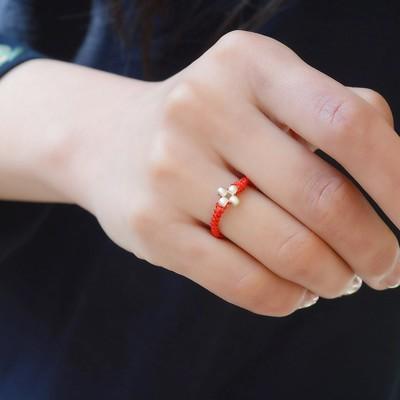 戒指 開光原創轉運珠花瓣紅繩戒指s情侶男女轉運尾戒簡約禮物 (5.5折)