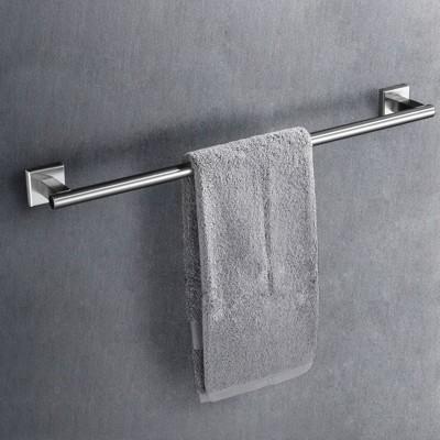 毛巾架 浴室 衛浴掛件304不銹鋼方座衛生間毛巾桿單桿毛巾架 加長毛巾桿 - 長度80cm (4.9折)