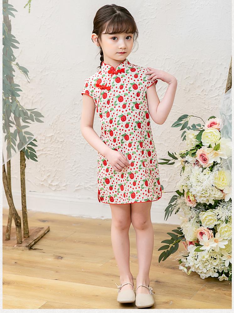 女童旗袍夏季兒童旗袍裙小女孩公主裙童裝改良女寶寶唐裝裙-平價屋