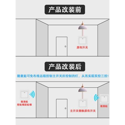 無線遙控開關面板 免布線220v智能電燈家用雙控隨意貼臥室12v - 白色二開主開關+遙控隨意貼 (4.9折)