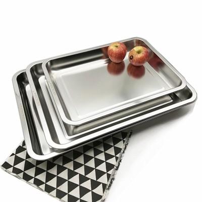 不銹鋼托盤 304不銹鋼方盤子加厚深烤魚盤蒸飯盤菜盤長方形大號304不銹鋼托盤 (5.9折)
