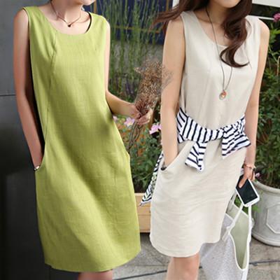 韓版寬鬆亞麻連身裙口袋款 (5.4折)