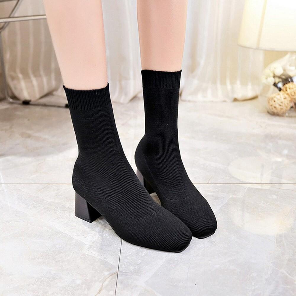 sas 襪靴 針織靴 彈力靴 粗跟好穿不掉筒短靴  彈力布套腳短靴馬丁靴 564