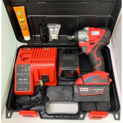 鋰電無刷電動扳手 通用米沃奇 21V(18V) 3.0AH 兩電一充(雙電池) (9.6折)