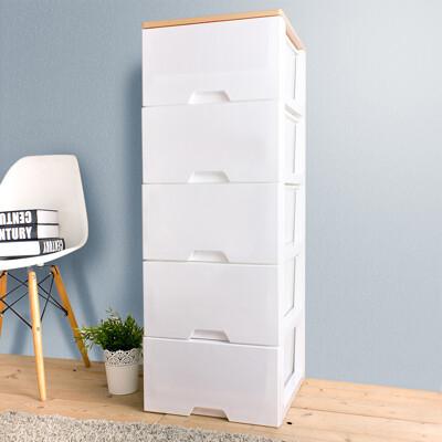 【HOUSE】木天板-純白衣物抽屜式五層收納櫃【台灣製造】-白色【005142-01】