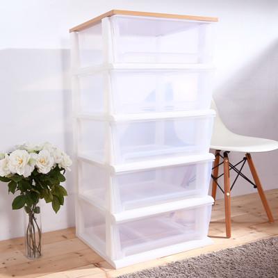 HOUSE-晴空透明超大150公升五層櫃(木天板)-DIY組裝【005063-01】 (7.9折)