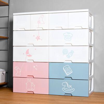 【HOUSE】54大面寬-寶寶玩具衣物抽屜式收納櫃五層(2小抽+4大抽-【台灣製造】)005132