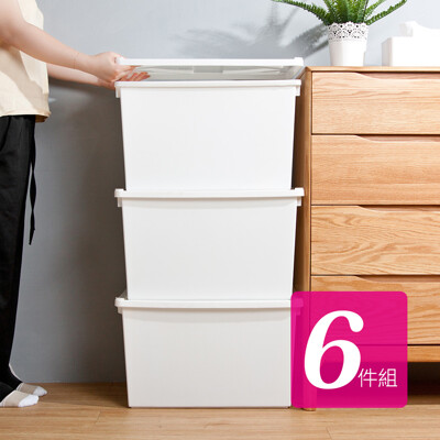 HOUSE-純白牛奶附蓋收納盒-直角8號-大高桶(6入)【005162-01】