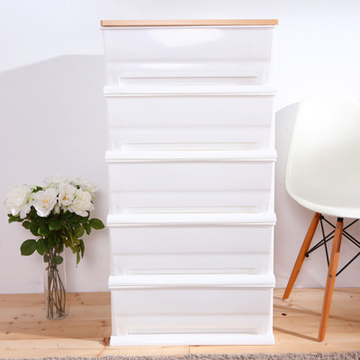 HOUSE-時光白色超大150公升五層櫃(木天板)-DIY組裝【005059-01】 (8.8折)