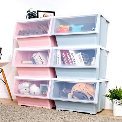 HOUSE-大容量-艾夏掀蓋式可堆疊玩具衣物收納箱-39L-六入【005128】