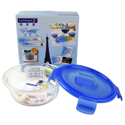 法國Luminarc【樂美雅】PURE BOX 氣閥玻璃圓型保鮮盒420ml (5.1折)