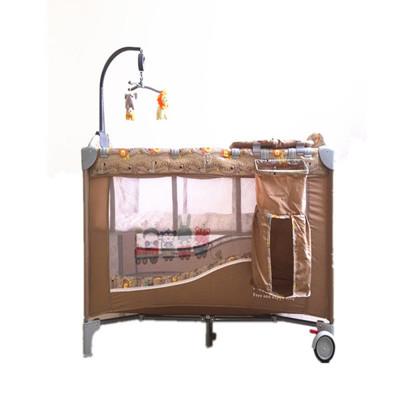 豪華遊戲床 加長遊戲床 多功能 嬰兒床 雙層床 可折疊 附置物袋 尿布台 (7.7折)