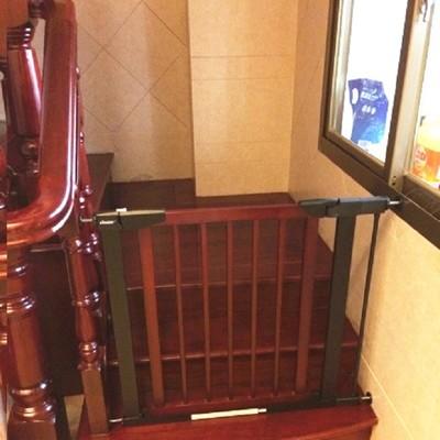 實木安全門欄 嬰兒圍欄 實木柵欄 樓梯防護欄 寵物圍欄 自動回扣 雙向開啟 (7.7折)
