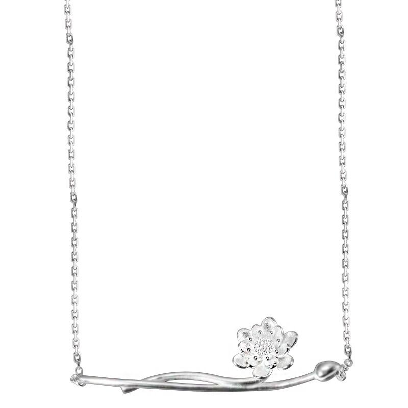 米蘭精品925純銀項鍊 吊墜-蓮花造型百搭女配件73y19