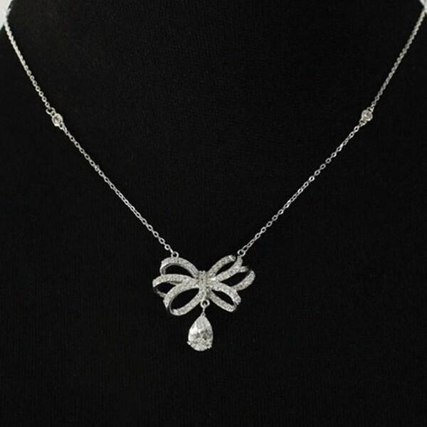 米蘭精品925純銀項鍊 鑲鑽水晶吊墜-蝴蝶結造型氣質女配件73y58