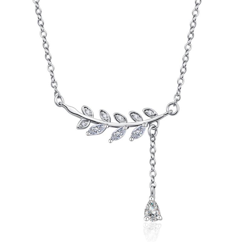 米蘭精品925純銀項鍊 鑲鑽吊墜-樹葉造型經典獨特百搭女配件73y77
