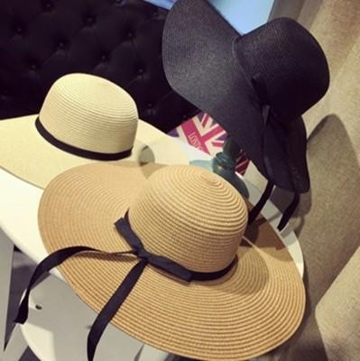 草帽遮陽帽緞帶沙灘帽-戶外出遊時尚精選生日情人節禮物女帽子3色73eq14【米蘭精品】 (3.5折)