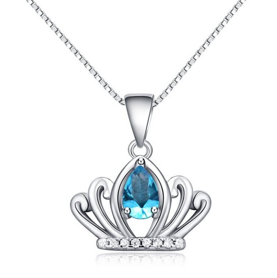 925純銀項鍊 水晶吊墜-典雅童話百搭皇冠女配件73v168米蘭精品