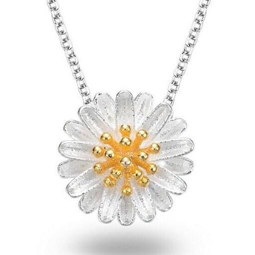 925純銀項鍊 太陽花吊墜-百搭質感氣質女配件73v73米蘭精品