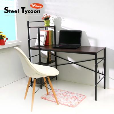 【Steel Tycoon】雙向層架式電腦桌(核桃木桌面搭配時尚黑色鐵製層架) (4.2折)