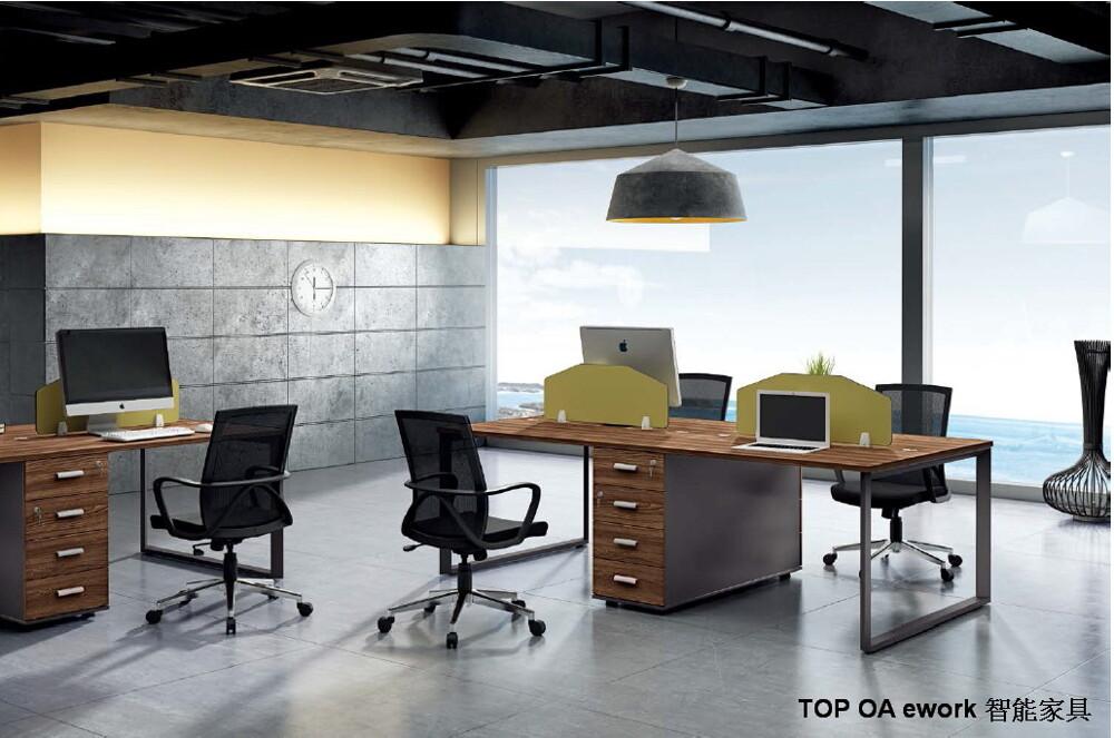 top oa ework智能家具/哥倫布桌上屏風工作站/4人對坐屏風含桌櫃工作站/loft工業風家具