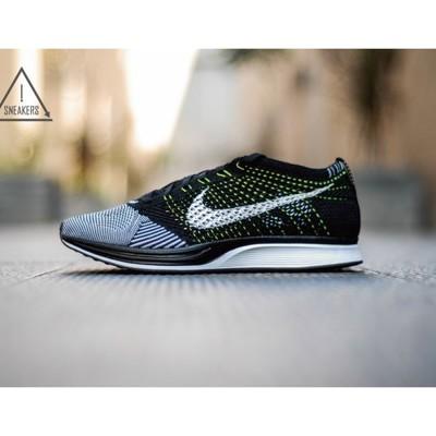 ISNEAKERS Nike Flyknit Racer 黑白 陰陽 編織 黃綠線 女鞋 (9.3折)