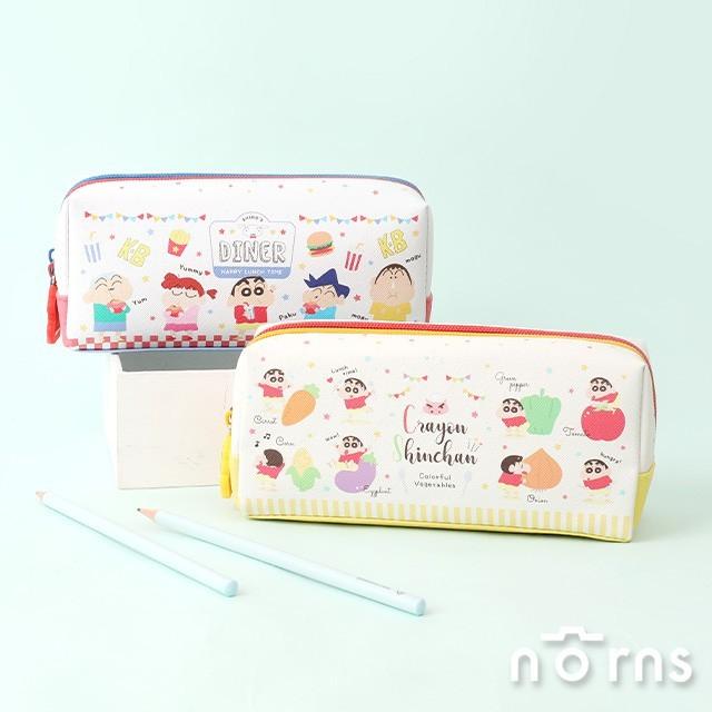 日貨蠟筆小新雙隔層皮質筆袋 box型- norns 日本正版授權 crayon shin chan