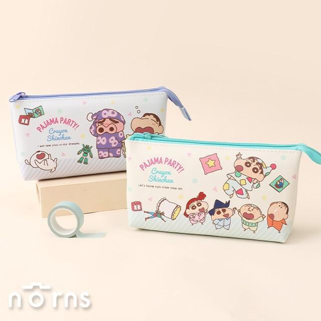 日貨蠟筆小新雙隔層皮質筆袋 船型- norns 日本正版授權 crayon shin chan 雙拉