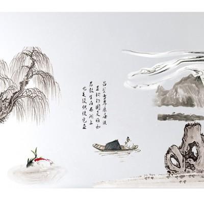 居家寶盒【YV4500-1】新款壁貼 無痕創意壁貼 居家裝飾 山水畫中國風水墨畫 AM911AB (6.7折)