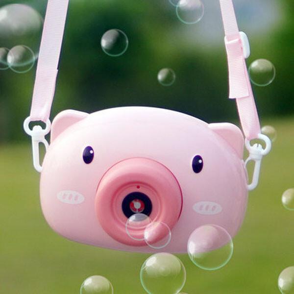 居家寶盒熊 小豬 貓熊 貓泡泡相機 音樂泡泡機 電動泡泡機 附背帶 泡泡水