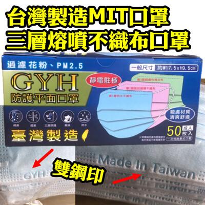 【99.9%】GYH 將元行 正MIT防護口罩 三層熔噴不織布口罩 台灣製造口罩 靜電熔噴布 (4.5折)