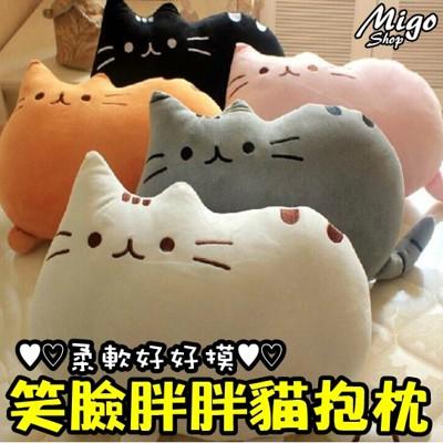 【笑臉胖胖貓抱枕】笑臉貓 抱枕 可愛 靠墊 玩具 娃娃 預購 貓奴 貓咪 胖胖貓 療癒