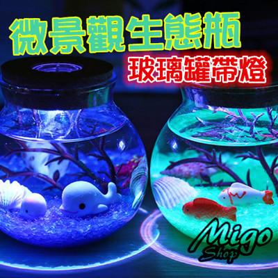 【微景觀生態瓶 玻璃罐 帶燈-13.5*13.5帶白燈】玻璃罐帶燈微景觀生態瓶圓形密封罐軟木塞儲物罐 (5.6折)
