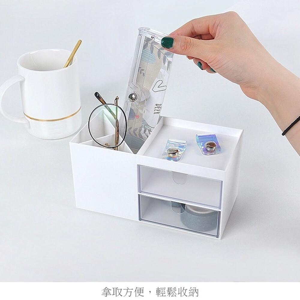 漾美純白無印風格 塑膠桌上收納盒
