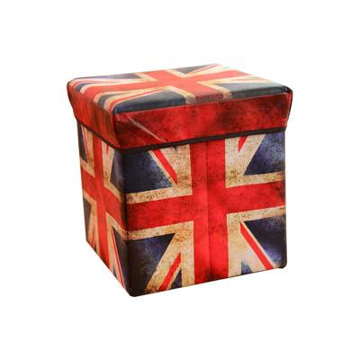復古風防水可折疊收納箱 收納椅(英國旗) 木製摺疊收納凳 收納椅 置物箱 收納摺疊椅 皮革製物桶 兒 (4.6折)