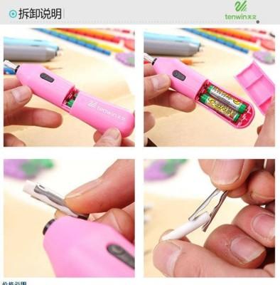 電動橡皮擦 3色隨機出貨百貨電動旋轉橡皮擦文具用品擦子鉛筆橡皮擦美術橡皮擦橡皮擦 (1.3折)